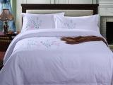 经典花草图案绣花宾馆四件套 高支高密贡缎酒店布草床上用品
