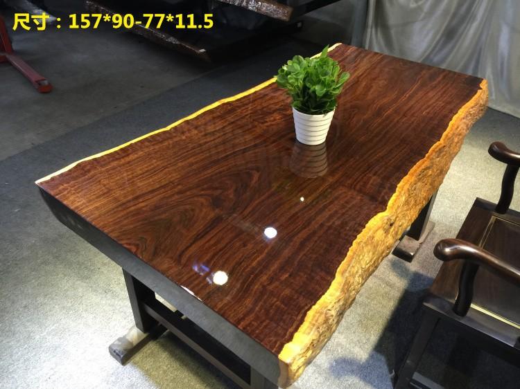 实木大板茶桌现货 黑檀办公桌椅黄花梨巴花原木茶桌