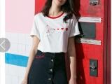 6元新款夏季女装短袖t恤女大码白色韩版学生百搭印花上衣打底衫