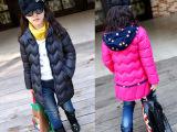 2015童装中大女童装棉衣冬季儿童棉袄中长款波点加厚童装外套直销