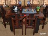 宝鸡老船木棋盘茶桌椅组合沉船木茶台茶几