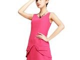 阿里巴巴批发网1688高端品牌连衣裙 欧美高端女装玫红色短裙80