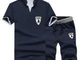 2015夏季新款休闲短袖t恤男式套装短款 运动短裤套装男装运动套