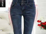 2014春季高腰排扣牛仔裤 女 韩版大码弹力铅笔裤 女士显瘦小脚