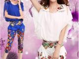 2014新款高档女装 韩版印花雪纺上衣  哈伦裤套装