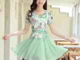 2015夏装新款韩版女装显瘦大码修身印花打底短袖雪纺连衣裙