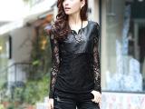 蕾丝衫 新款秋装镂空蕾丝打底衫 女长袖大码拼接蕾丝衫上衣批发