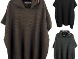 14秋冬新款欧美胖mm大码女装麻花蝙蝠袖堆堆高领毛衣混批一件代发