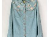 新款日单外贸森林系韩版碎花拼接牛仔蓝色长袖女式衬衫8015