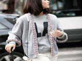 (  真假对比) 刘诗诗同款时尚街拍羊绒灰色开衫彩色编织