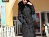 长款羽绒服女正品清仓大毛领修身加大码高端加厚黑色羽绒服加长款