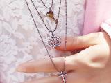 钻叶饰品 多元素流行长款项链 钥匙皇冠十