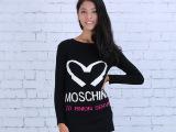 2014秋冬新款韩版套头中长款条纹针织衫 字母长袖女式针织打底衫