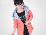 大童装2014秋季女童外套新款连帽时尚百搭中长款风衣韩版休闲上衣