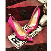 2014秋季新款 欧洲站 女鞋糖果色 超高跟尖头 真皮单鞋 宴会鞋