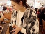 6147  韩国进口代购 洋气名媛黑白灰混合色人造毛皮草短外套