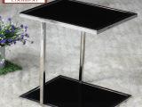 现代简约时尚黑色客厅小茶几角几边几移动小方桌钢化玻璃创意茶几