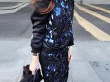 2014秋冬新款女装 欧美高端定制 重工纯手工钉珠亮片套装 两件