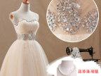婚纱礼服2013新款 姐妹裙伴娘服敬酒新娘抹胸短款香槟女晚装礼服