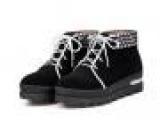 低筒靴单鞋女 女士单靴真皮批发 磨砂皮女靴系带 低筒真皮靴平底