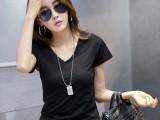 女t恤短袖纯色修身简约V领上衣半截袖打底小衫夏新款韩版