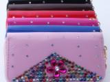2014新款女士钱包 镶钻手拿包 时尚亮皮钱包  韩版女包 卡包