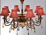 厂家直销 欧式复古酒吧吊灯 红色布罩酒店创意装饰灯具厂家批发