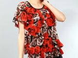 厂家直销中老年女装 蝙蝠袖夏装 中老年针织衫批发 网纱针织T恤