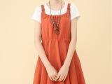 2615夏季欧美裙外贸假两件大码女装背带系带棉麻连衣裙