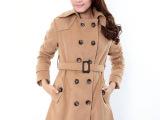 实拍2013冬装新款OL气质女装 毛呢厚外套 中长款毛呢大衣 女