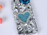 iphone6S 蓝钻手机壳 闪亮水钻苹果6手机保护套爱心满钻手