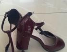 枣红色粗跟女鞋