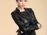 2013秋季pu水洗皮衣女装修身短款立领外套韩版机车夹克