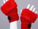 0312韩版冬季女短款露指 钮扣 露指条纹毛口半指毛线手套 3色