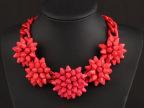 欧美时尚大牌 奢华红色大花朵短锁骨项链夸张女配饰品批发 速卖通