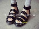 14夏韩版日系罗马细带镂空鱼嘴坡跟凉鞋牛筋底厚底凉鞋坡跟女鞋