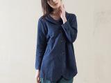 2015春款民族风棉麻女衬衫亚麻长袖上衣中式女装复古衬衣6131