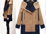 2015秋冬新品欧美大码女装 中长款连帽毛呢大衣 拼接撞色外套