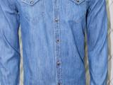 外贸原单za  ra*2014新款男士韩版工装修身牛仔衬衫牛仔衬