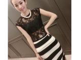 欧洲站女装新款蕾丝性感上衣+百搭包臀裙套装4899