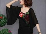 2014夏季新款民族风品牌女装时尚拼接刺绣圆领半袖雪纺衫女