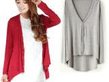 2015 女装 韩版莫代尔前短后长开衫不规则 女 针织衫外套超值