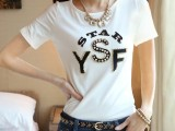 2014夏季新款女装韩版时尚身显瘦大码T恤圆领镶钻字母短袖t恤女