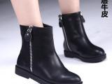 2015新款春季女靴 韩版真皮短靴  平底圆头粗跟马丁靴 现货批