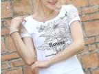 2015新款韩版女装显瘦夏季白色蕾丝上衣短袖修身t恤大码女