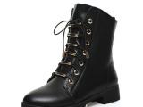 冬季牛皮短靴欧美罗马真皮系带马丁靴中跟靴