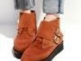 真皮短靴磨砂皮女鞋尖头平底鞋英伦风 鞋子 女厚底鞋 松糕鞋