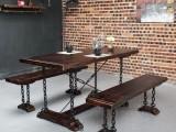餐桌椅厂家供应 铁艺餐桌椅 西餐厅桌椅组合 实木工业风餐桌椅