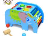 木制玩具多功能大象敲球台 算珠敲打玩具宝宝早教认知智力