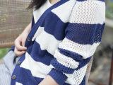 2014秋冬季新款V领长袖女式外套空调衫 日系粗条纹镂空针织开衫